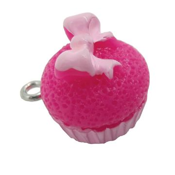 Acrylic Cupcake with Ribbon Charm 14mm x 15mm